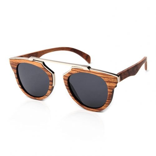 Dark Maple Unisex Wood Sunglasses with Stainless Steel Brow Bar
