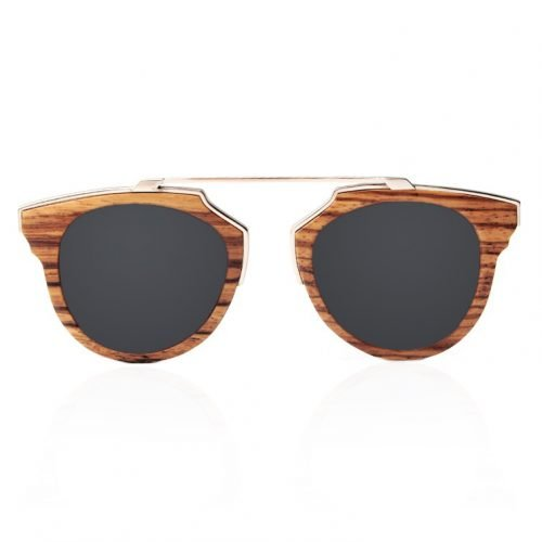 Dark Maple Women's Wood Sunglasses with Stainless Steel Brow Bar Front