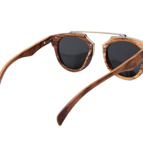 Dark Maple Women's Wood Sunglasses with Stainless Steel Brow Bar Inside