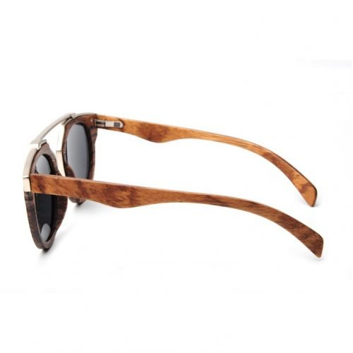 Dark Maple Women's Wood Sunglasses with Stainless Steel Brow Bar Side