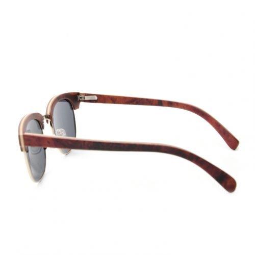 Womens Mahogany Wooden Sunglasses - Retro Half Frame Clubmaster Inspired Shades