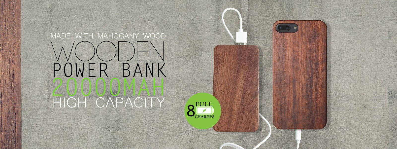 Wooden Portable Power Bank 20000mah Capacity + iPhone Case