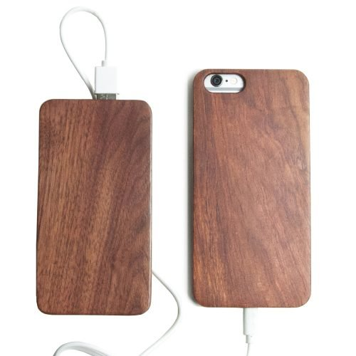 Wooden iPhone 6 Plus Case With Wooden Power Bank 20000mah Capacity