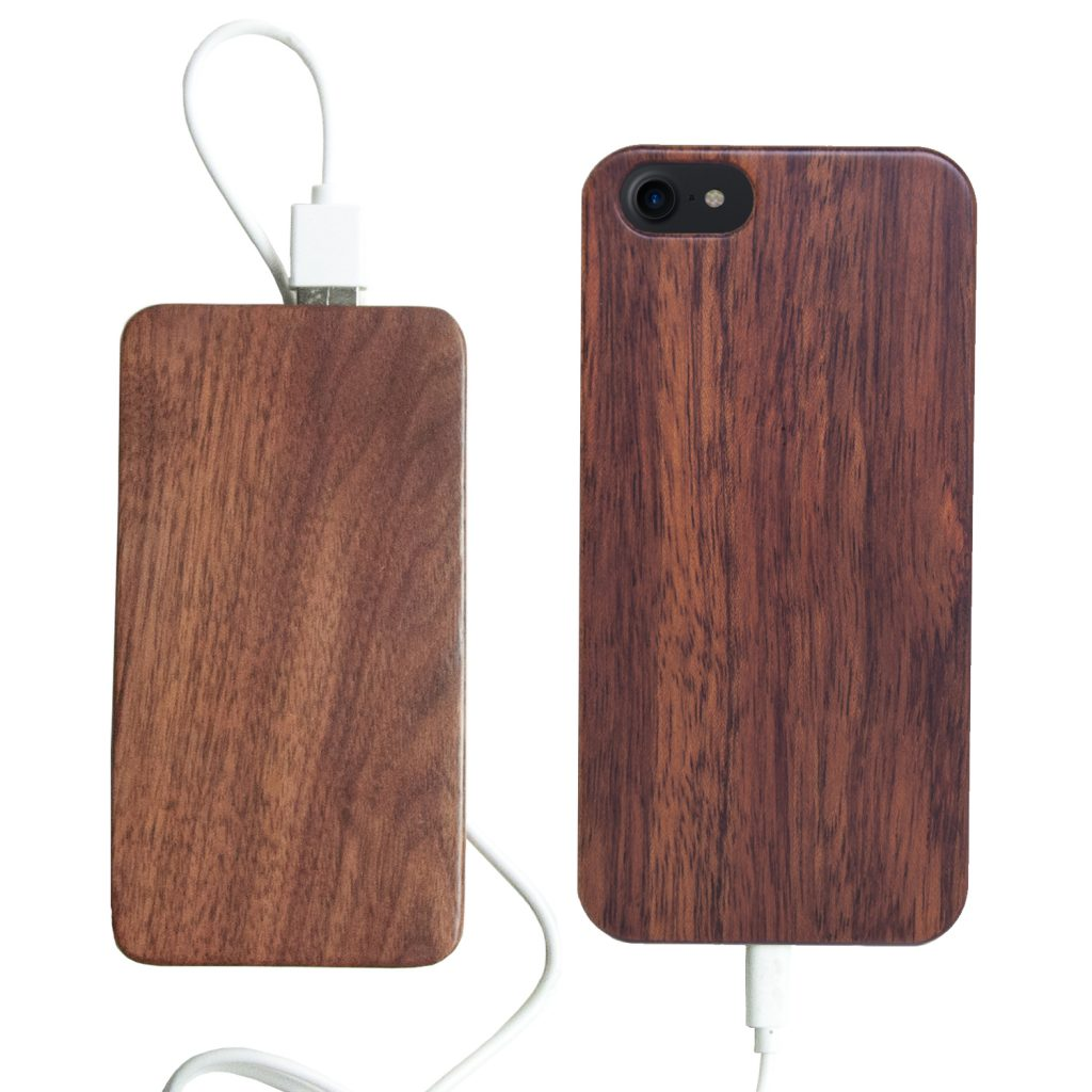 Wooden iPhone 7 Case With Wooden Power Bank 20000mah Capacity