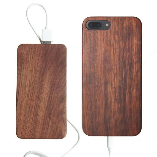 Wooden iPhone 7 Plus Case With Wooden Power Bank 20000mah Capacity