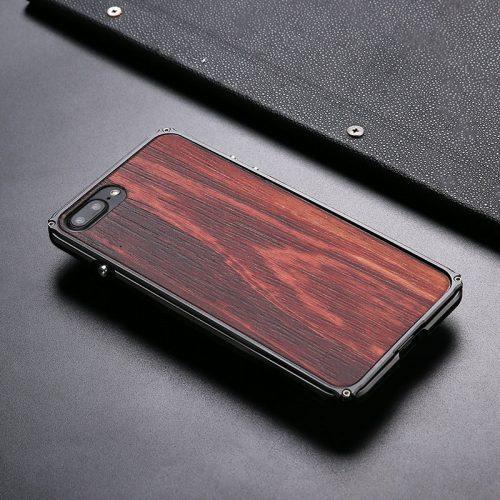 iPhone 8 Plus Aluminum Metal Wood Case Anti Shock Cover For iPhone 8 Plus Top