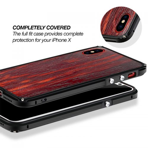 iPhone X Aluminum Metal Wood Case Anti Shock Cover for iPhone X Edges