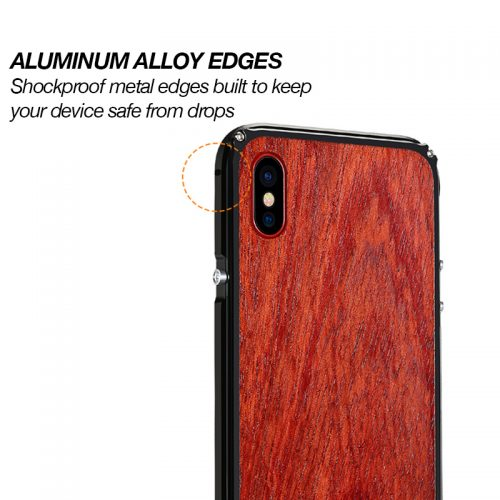 iPhone X Aluminum Metal Wood Case Anti Shock Cover for iPhone X Alloy Edges