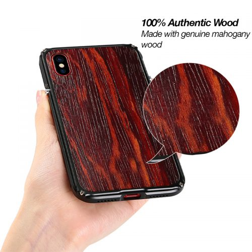iPhone X Aluminum Metal Wood Case Anti Shock Cover for iPhone X Size