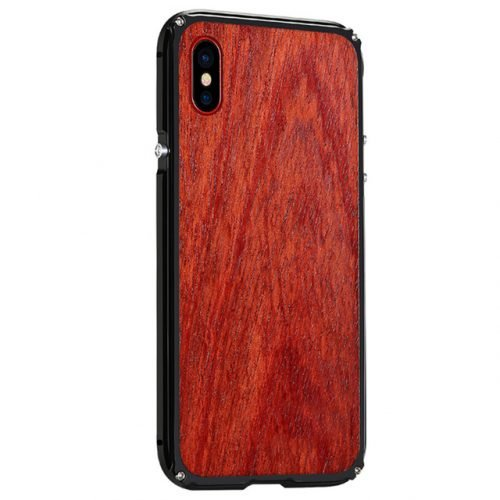 iPhone X Aluminum Metal Case Anti Shock Wood Cover for iPhone X