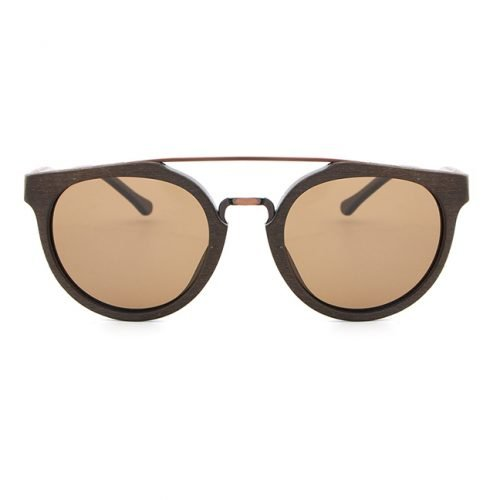 Cream Natural Wood Sunglasses UV400 Protection Round Polarized Lenses Front