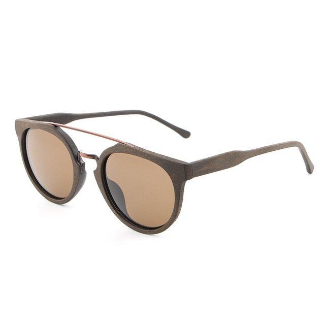 Cream Natural Wood Sunglasses UV400 Protection Round Polarized Lenses