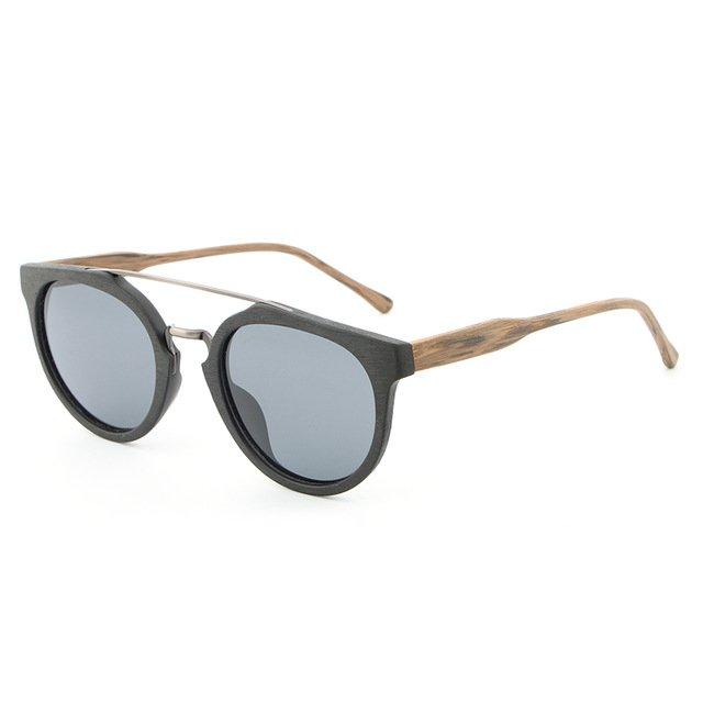 Granite Natural Wood Sunglasses UV400 Protection Round Polarized Lenses