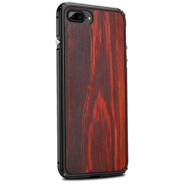 iPhone 8 Aluminum Metal Case Anti Shock Wood Cover For iPhone 8
