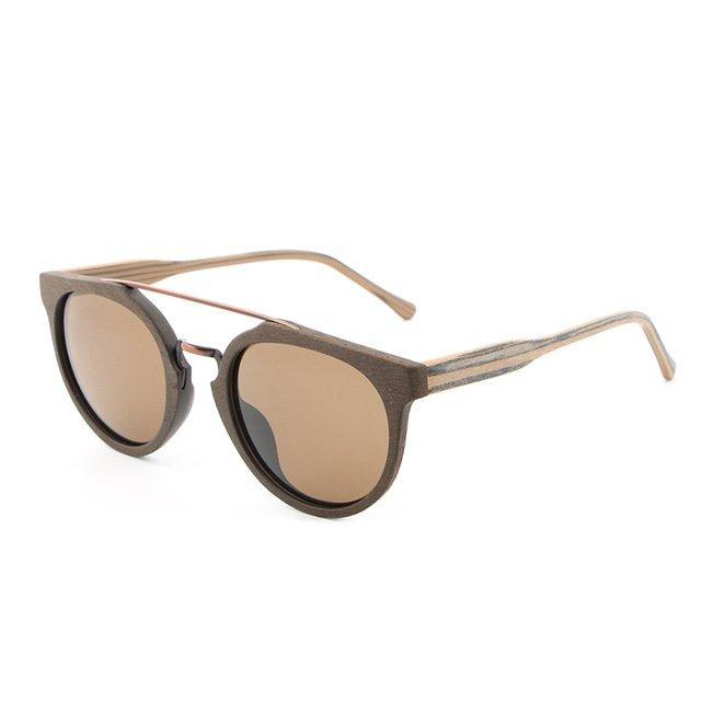 Tiger Eye Natural Wood Sunglasses UV400 Protection Round Polarized Lenses