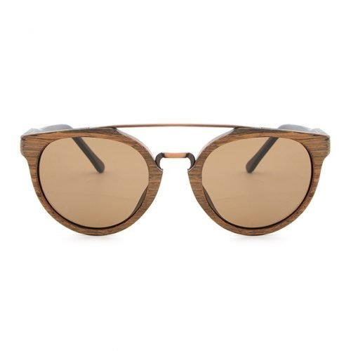 Toffee & Coal Natural Wood Sunglasses UV400 Protection Round Polarized Lenses