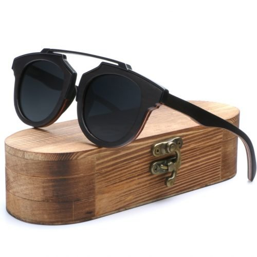 Black Oak Wood Sunglasses - Mens Natural Wooden Sunglasses Made With Oak Stained Black Frames With Natural Wood Temples.