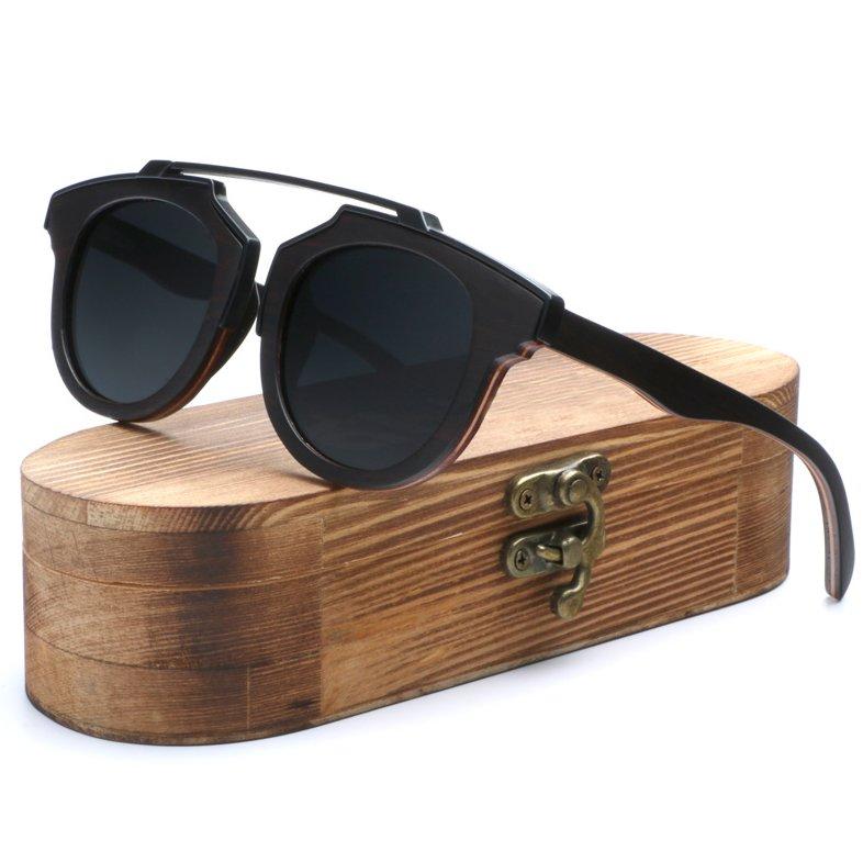 Tourmaline Mens Natural Wood Sunglasses UV400 Protection Wayfarer Polarized Lenses