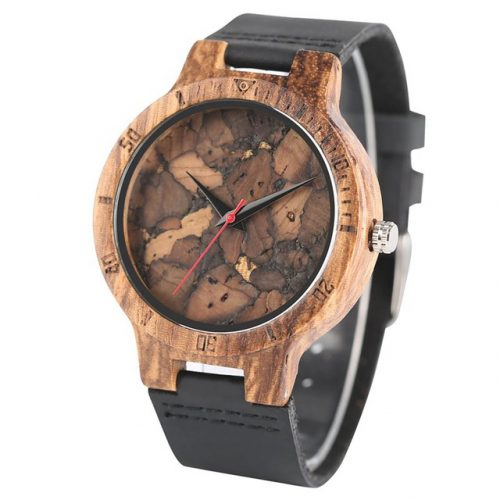 Wooden Watch Black Marble Grain Wood Watches, Minimalist Watch for Men, Watches for Men, Watch for Husband, Gift for Dads