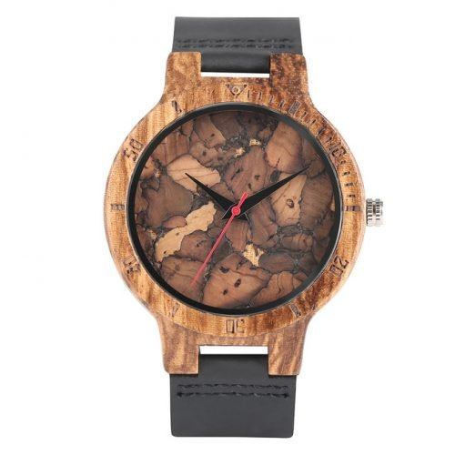 Wooden Watch Black Marble Grain Wood Watch Front