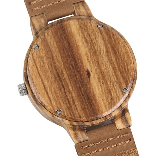 Wooden Watch Gold Barley Wood Watch Back