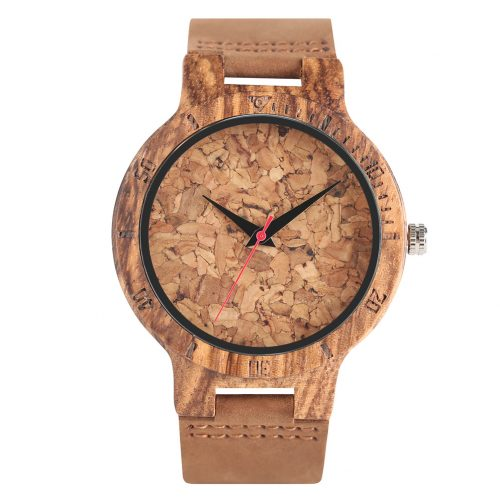 Wooden Watch Gold Barley Wood Front