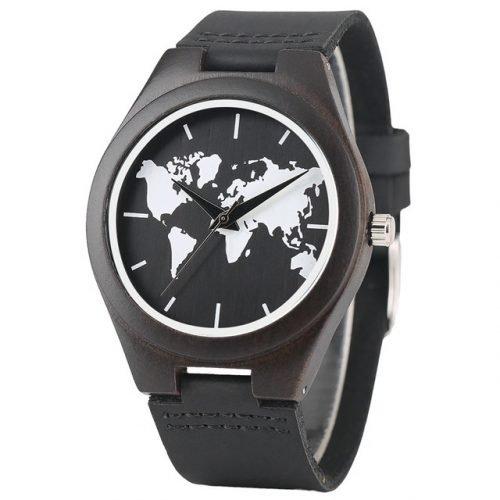 World Traveler Walnut Wood Watch World Map Watches, Minimalist Watch for women, Watches for Men, Gifts for Traveler, Gift for Dads, Gifts for Hiker