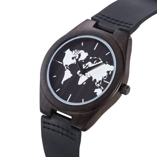 World Traveler Walnut Wood Watch World Map Watch Band