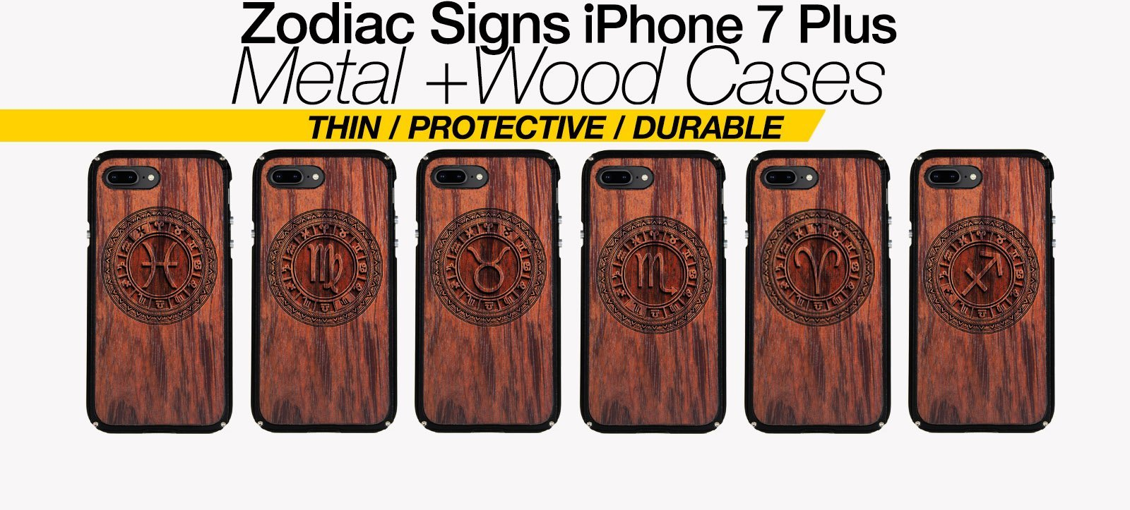 Zodiac Signs iPhone 7 Plus Cases Best Zodiac Horoscope Metal Wood iPhone 7 Plus Covers Gifts For Zodiac Lovers Fans Astrology Cases Phone Birthday Gifts For Astrology Lovers
