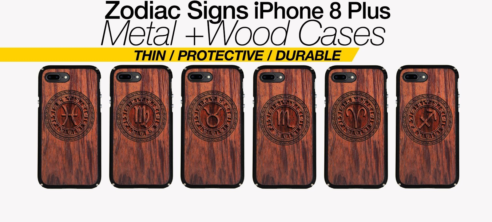Zodiac Signs iPhone 8 Plus Cases Best Zodiac Horoscope Metal Wood iPhone 8 Plus Covers Gifts For Zodiac Lovers Fans Astrology Cases Phone Birthday Gifts For Astrology Lovers