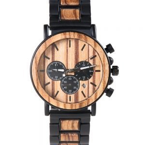 Chronograph Movement Hybrid Mens Titanium Metal And Wood Watch For Men Xhron Series - Best Mens Wooden Watch - Black Wooden Watch For Men