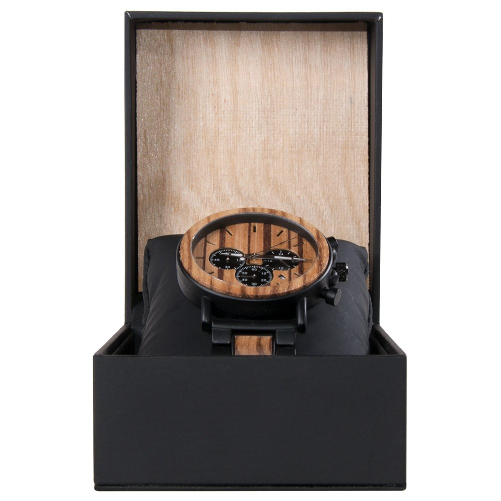 Chronograph Movement Hybrid Mens Titanium Metal And Wood Watch For Men Xhron Series | Black Wooden Watch with Wood and Black Leather Watch Case