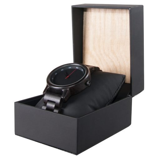 Black Ebony Walnut Wooden Watch For Women And Men Black Sonnet Series With Wood And Leather Watch Box Best Women's Wood Watch Side