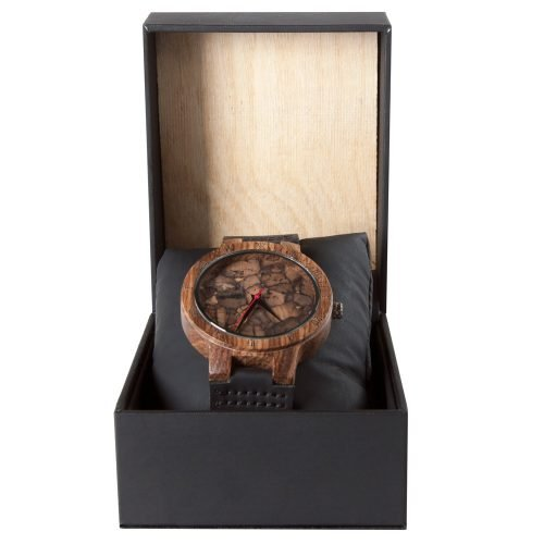 Mahogany Marble Wooden Watch for Men and Women Black Marble with Wood and Leather Watch Box