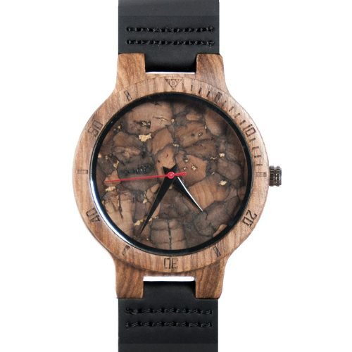 Mahogany Marble Wooden Watch for Men and Women Black Marble - Anniversary Gift - Groomsmen Watch