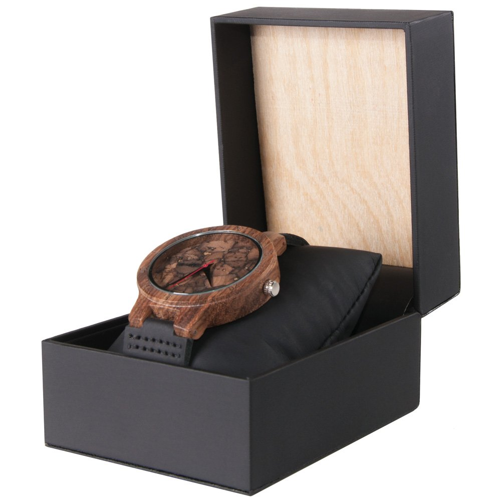Mahogany Marble Wooden Watch for Men and Women Black Marble with Wood and Leather Watch Box Side