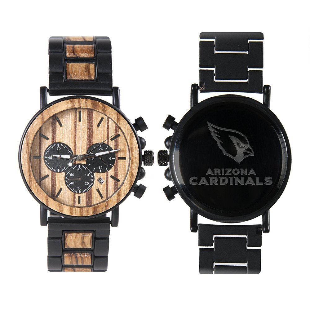 Arizona Cardinals Metal and Wood Watch | Mens Titanium Chronograph Watch
