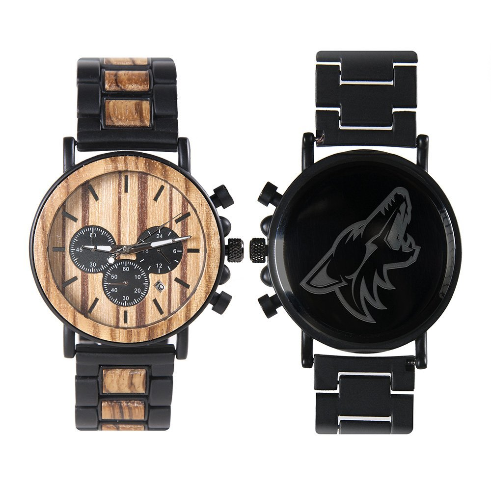 Arizona Coyotes Metal and Wood Watch | Mens Titanium Chronograph Watch