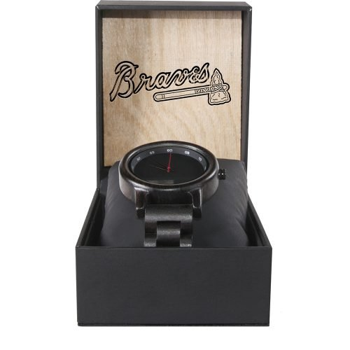 Atlanta Braves Walnut Wooden Watch | Mens Black Watch