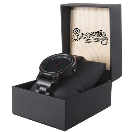 Atlanta Braves Walnut Wooden Watch | Mens Black Watch