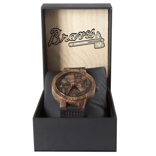 Atlanta Braves Mahogany Marble Wooden Watch | Mens Minimalist Wood Watch