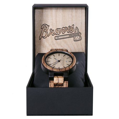 Atlanta Braves Maple Wooden Watch | Wood Watch Gold Sonnet Series