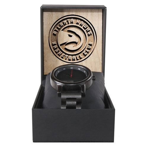 Atlanta Hawks Walnut Wooden Watch | Mens Black Watch