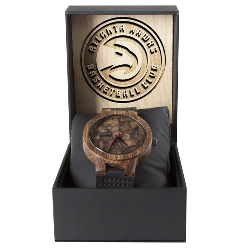 Atlanta Hawks Mahogany Marble Wooden Watch | Mens Minimalist Wood Watch