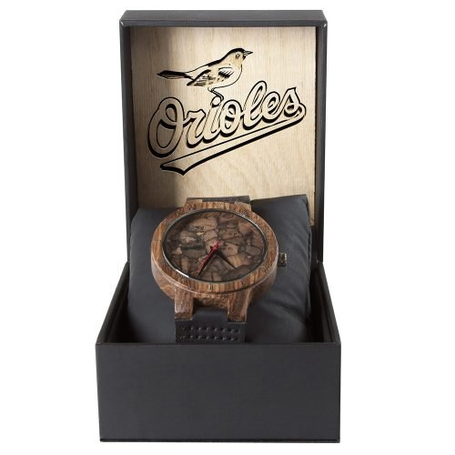 Baltimore Orioles Mahogany Marble Wooden Watch | Mens Minimalist Wood Watch
