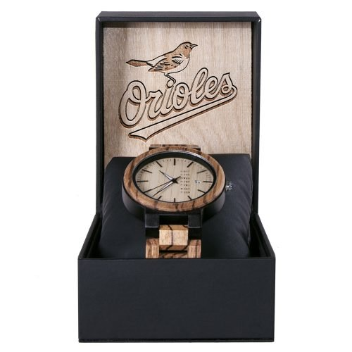 Baltimore Orioles Maple Wooden Watch | Wood Watch Gold Sonnet Series