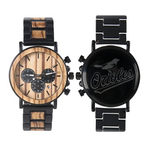 Baltimore Orioles Metal and Wood Watch | Mens Titanium Chronograph Watch