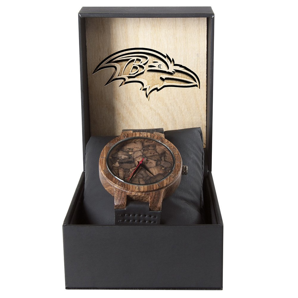 Baltimore Ravens Mahogany Marble Wooden Watch | Mens Minimalist Wood Watch
