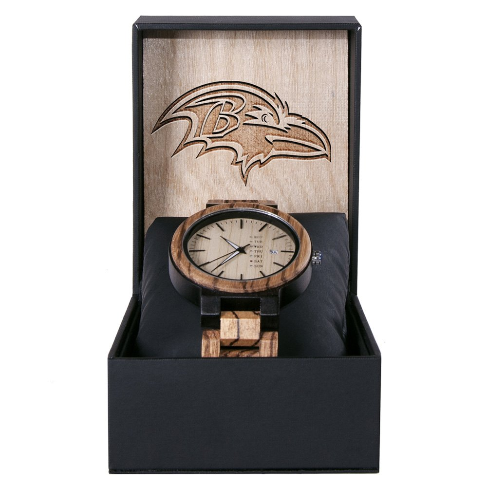 Baltimore Ravens Maple Wooden Watch | Wood Watch Gold Sonnet Series