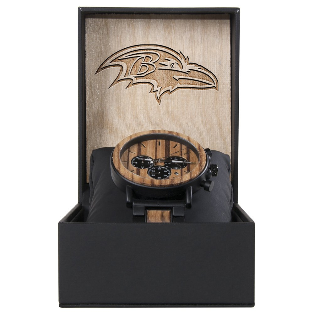Baltimore Ravens Metal and Wood Watch | Mens Titanium Chronograph Watch